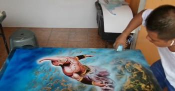 ภาพวาดจอมมารบลู วาดด้วยพู่กัน + สเปรย์สุดสวย!!!