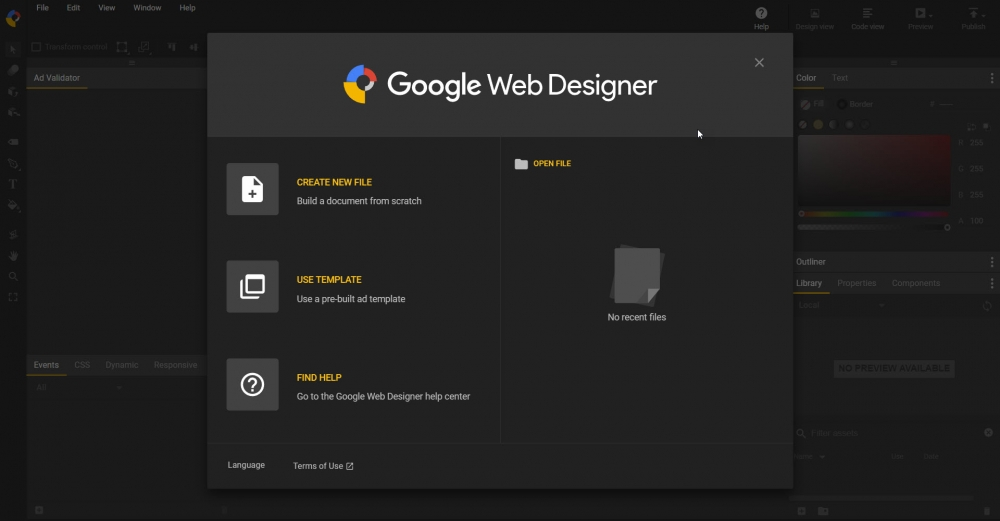 หน้าจอการทำงานของ Google Web Designer ตอนเปิดมาครั้งแรก