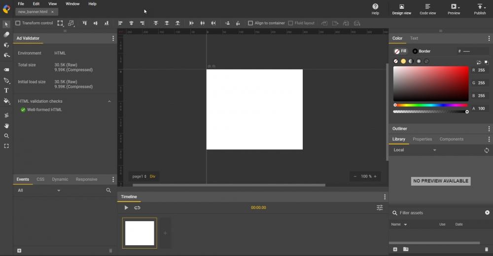 หน้าจอการทำงานของ Google Web Designer