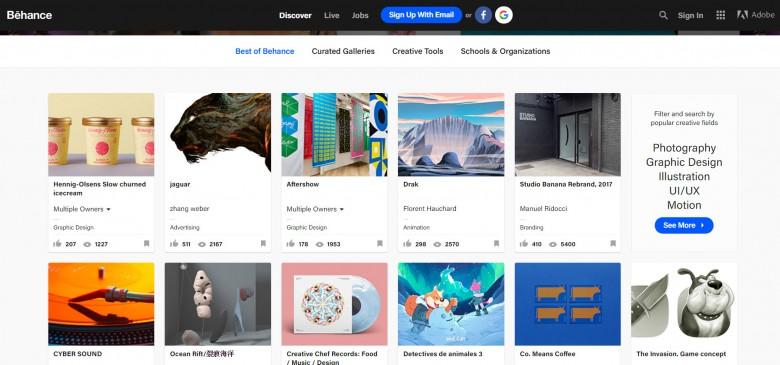 หน้าตาของเว็บ Behance portfolio