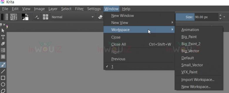 Workspaces ใน Krita มีให้เลือกหลายแบบ