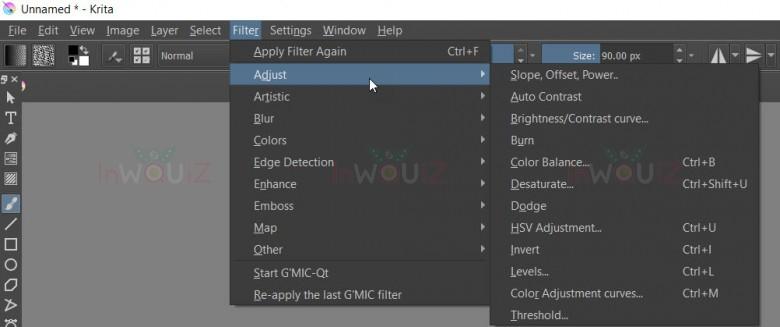 ตัวอย่างคำสั่งต่างๆในเมนู Filters ของ Krita