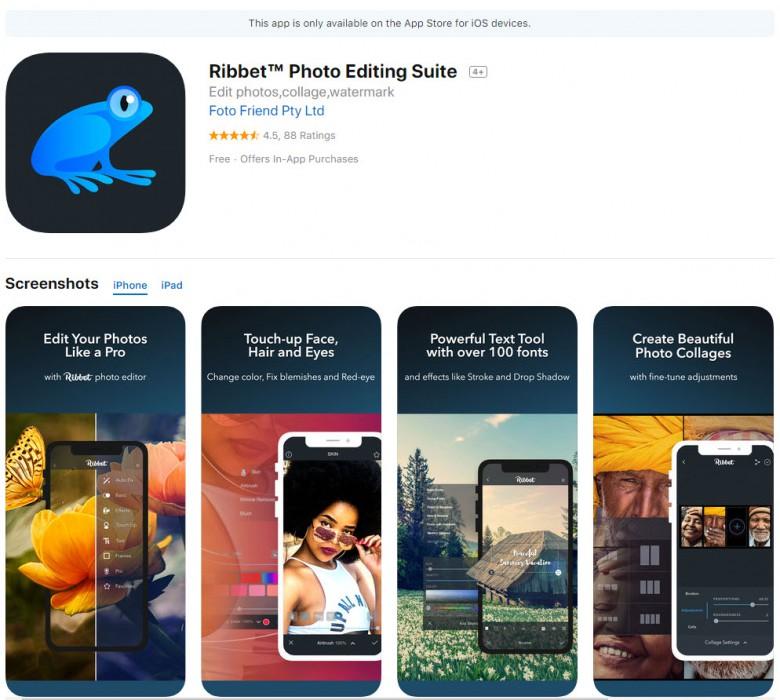 ตัวอย่างแอพ Ribbet Photo Editing Suite บนios