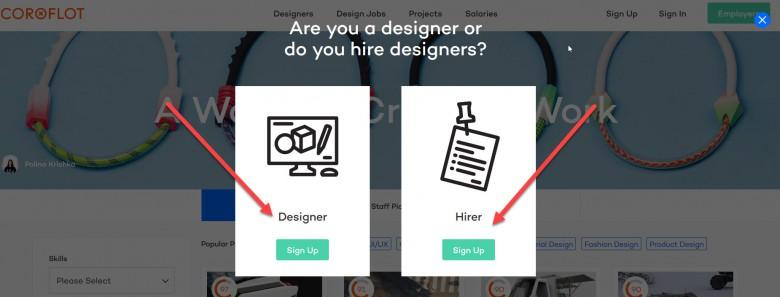 หน้าสมัครใช้บริการสร้างพอร์ตโฟลิโอของ Coroflotจะแยกออกเป็นส่วนของดีไซเนอร์(Designer) และส่วนของผู้ว่าจ้าง(Hirer)