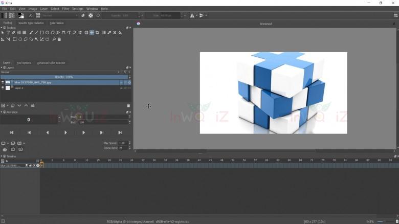 Workspaces แบบ Animation ของ krita