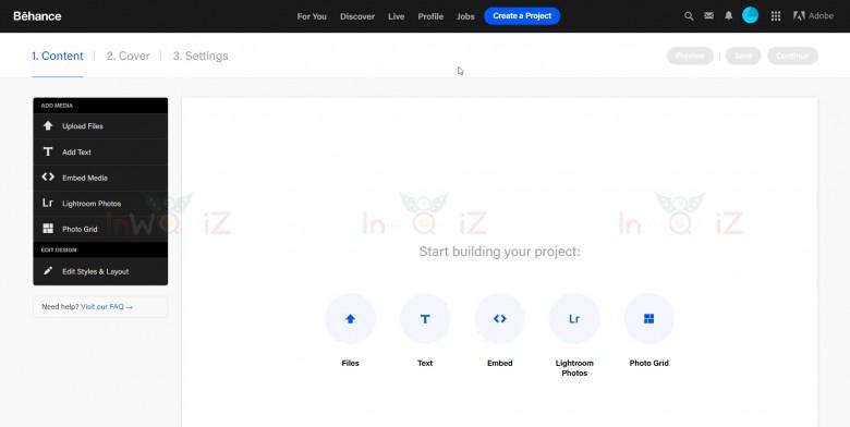 หน้าสำหรับสร้าง Project ของเว็บBehance portfolio