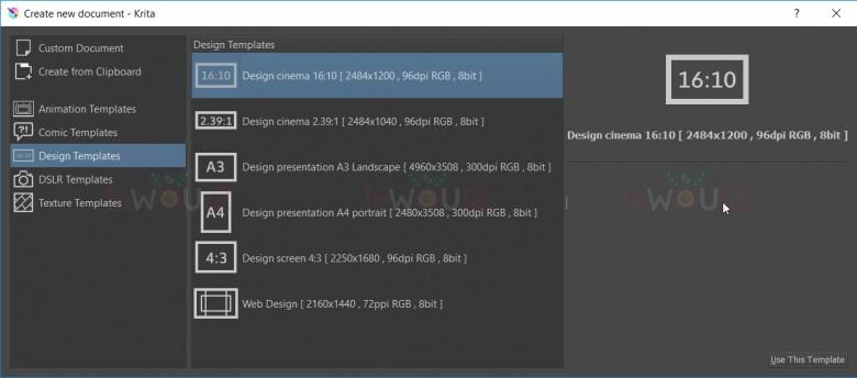 ตัวอย่างหน้าจอของ krita เมื่อเราเลือกเมนู Design tempalte