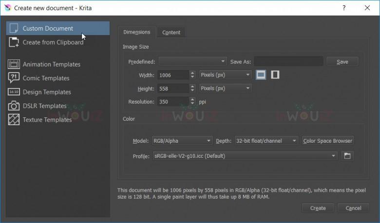 หน้าการสร้างไฟล์งานของ Krita Studio