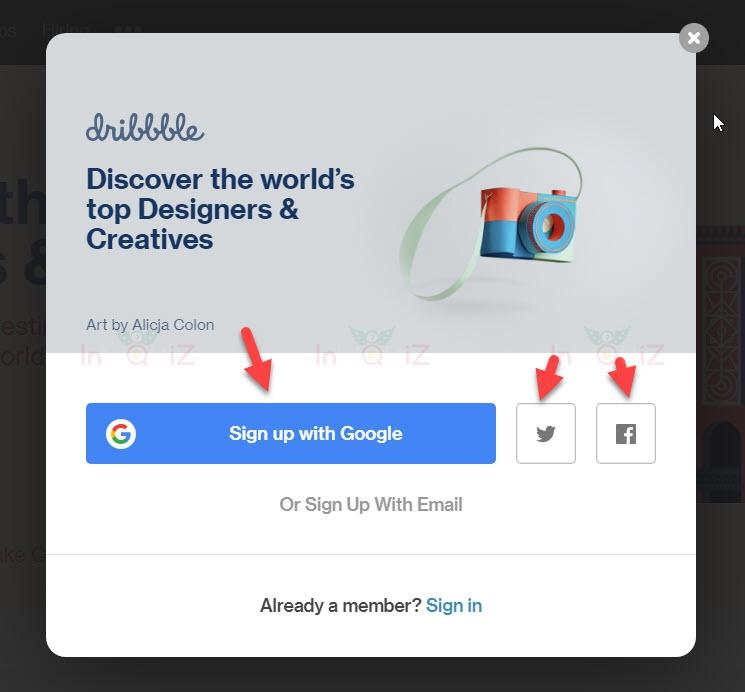 การสมัครสมาชิ Dribbbleก็ไม่ได้ยากอะไร แค่ใช้บัญชี facebook twitter หรือ gmail ที่เรามีอยู่สมัครก็ได้แล้ว