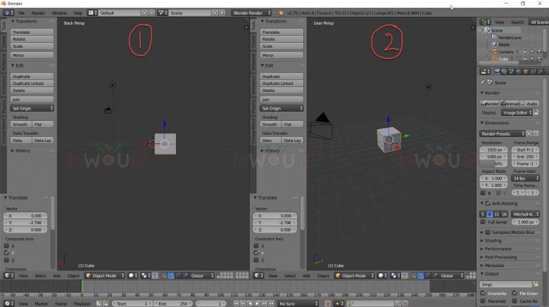 Blender สามารถแยกหน้าจอการทำงานออกมาได้มากกว่า 1 หน้าจอ