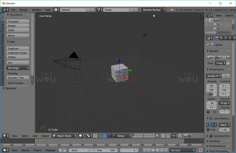 หน้าจอแสดงกล่องเครื่องมือและพื้นที่ทำงานของ Blender