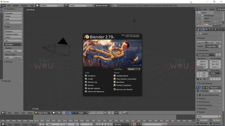 หน้าจอแรกหลักจากเปิดโปรแกรม Blender ขึ้นมา