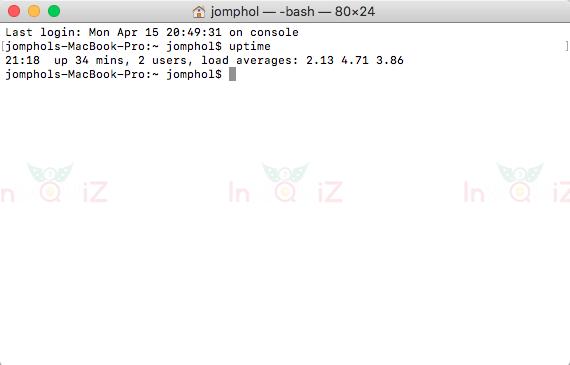 คำสั่ง uptime เช็คว่าเครื่อง mac เปิดใช้งานมาแล้วกี่ชั่วโมง