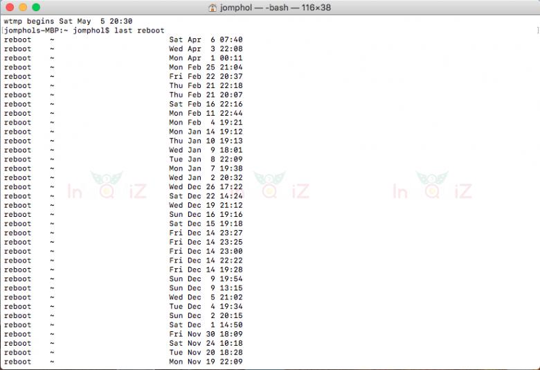 คำสั่ง last reboot จะใช้เช็คประวัติการเปิดเครื่อง mac
