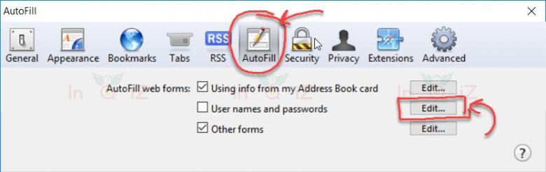 การลบรหัสผ่านที่บันทึกไว้ออกจาก Safari