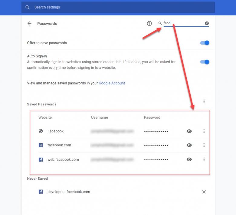 ในส่วนของSaved Passwords ก็จะปรากฏรายชื่อเว็บไซต์ที่มีการบันทึกรหัสผ่านใน google chrome