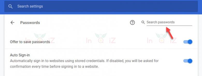 พิมพ์ค้นหาชื่อเว็บที่ต้องการในช่อง Search passwords หรือ ช่องค้นหาที่อยู่ด้านขวามือ