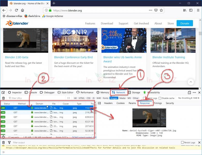 ใช้ Developer tools ใน firefox save รูปภาพบนเว็บไซต์ที่ห้ามคลิกขวา