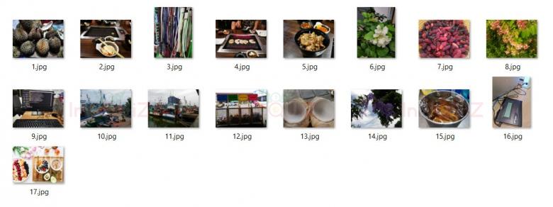 ภาพตัวอย่างด้านล่างคือผลลัพธ์ที่ได้จากการเปลี่ยนชื่อรูปหลายๆรูปพร้อมกันด้วยโปรแกรม PhotoScape X