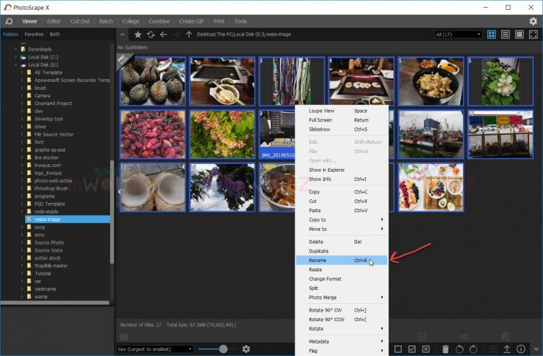 การเปลี่ยนชื่อรูปหลายๆรูปใน PhotoScape X