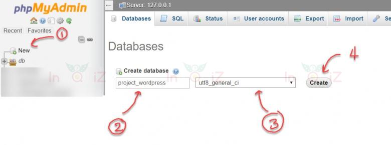 เข้า phpMyAdmin เพื่อสร้าง database