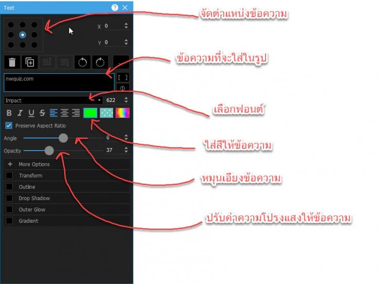 ตัวอย่างการปรับแต่งค่าข้อความที่จะใช้เป็นลายน้ำให้กับรูปในPhotoScape X