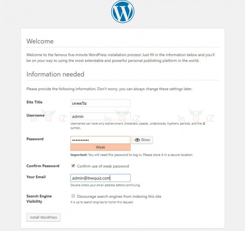 การติดตั้ง WordPress