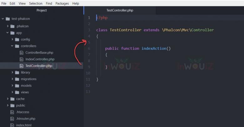 ตัวอย่างไฟล์ TestController.php  ที่ phalcon สร้างขึ้นมาให้