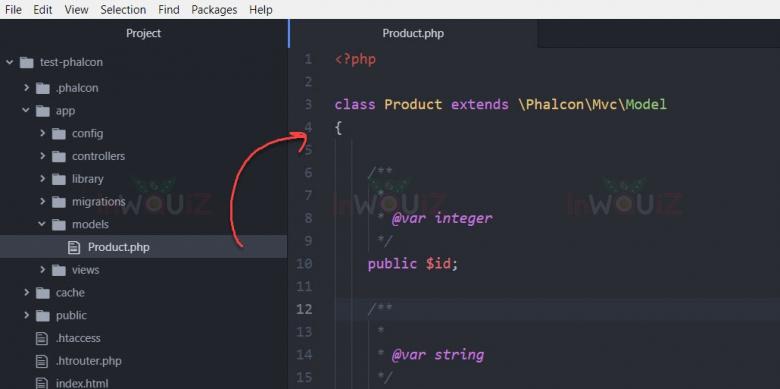 ตัวอย่าง Model ไฟล์ Product.php  ที่ phalcon สร้างขึ้นมาให้