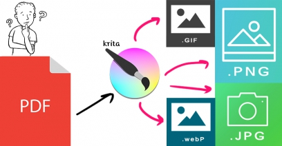 แปลงไฟล์ PDF เป็นรูป JPG, PNG ,GIF, WEBP ด้วยโปรแกรม Krita (ฟรี )