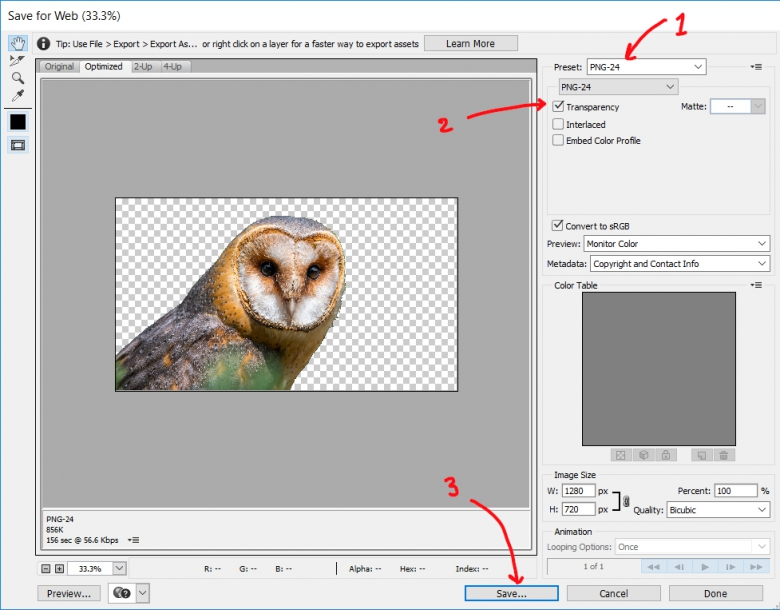 หน้าจอ Export รูป PNG ใน Photoshop
