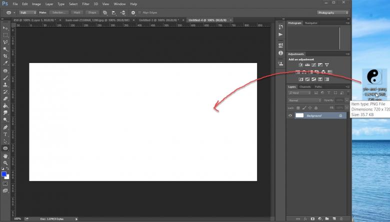 วิธีการนำภาพมาใส่ใน Photoshop ก็ลากไฟล์รูปมาวางใน Photoshop