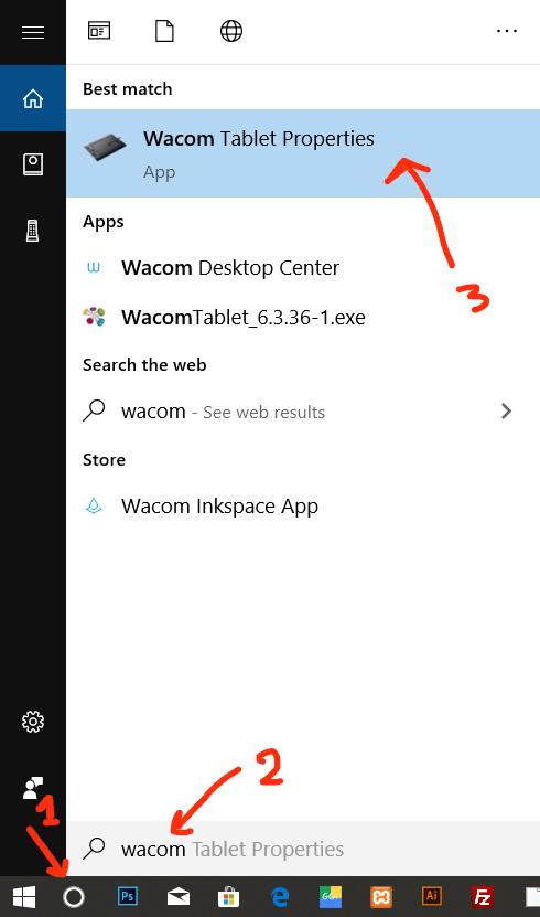 ค้นหา wacom tablet properties