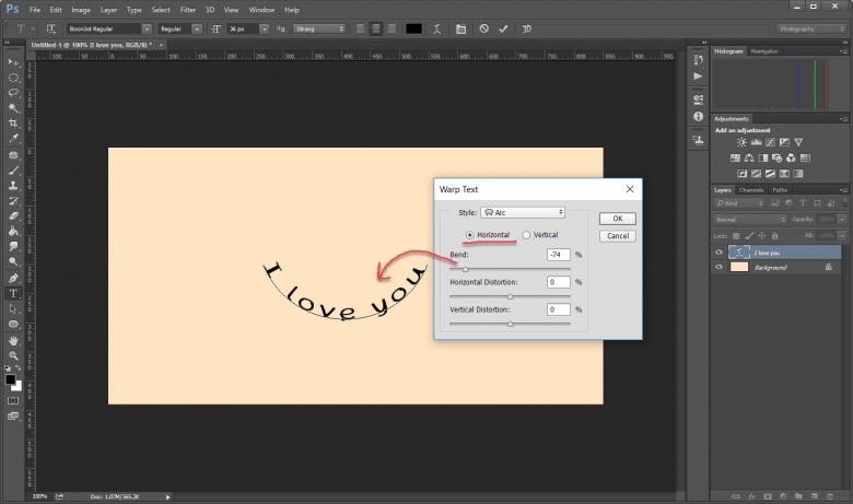 วิธีทำตัวอักษรโค้งๆขั้นเทพใน Photoshop ด้วคำสั่ง Wrap Text
