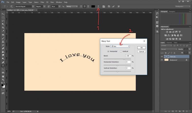 วิธีทำตัวหนังสือโค้งๆขั้นเทพใน Photoshop ด้วคำสั่ง Wrap Text