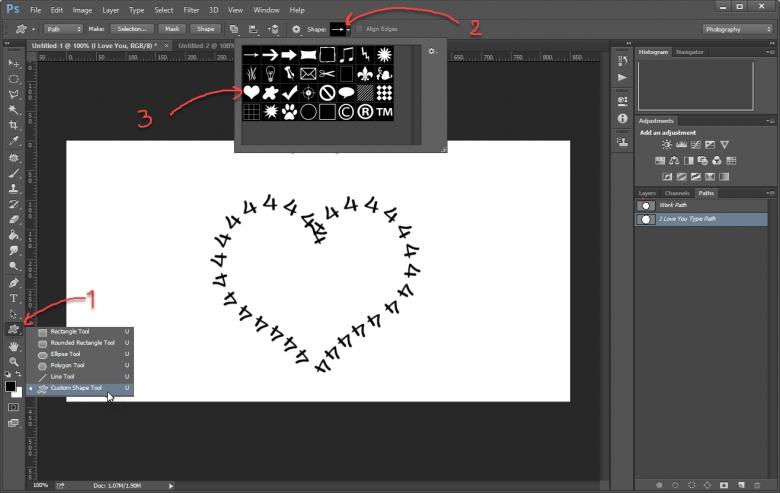 วิธีทำตัวอักษร-ตัวหนังสือโค้งด้วย Custom Shape Tool