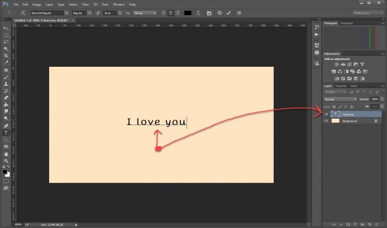 ตัวอักษรใน Photoshop