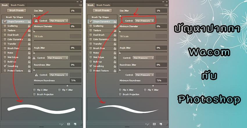 ปัญหาปากกา Wacom ปรับค่าน้ำหนัก(pen pressure)ของ Brushใน Photoshop ไม่ได้