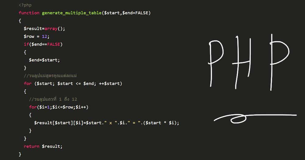 เขียนโปรแกรมแสดงสูตรคูณแม่ 2-12 ด้วยภาษา PHP + แจกซอสโค้ดฟรี