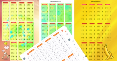 ตารางสูตรคูณ 2-12, 2-24  สวยๆน่ารักๆ มีตารางสูตรคูณรูป, PDF ให้โหลดฟรี